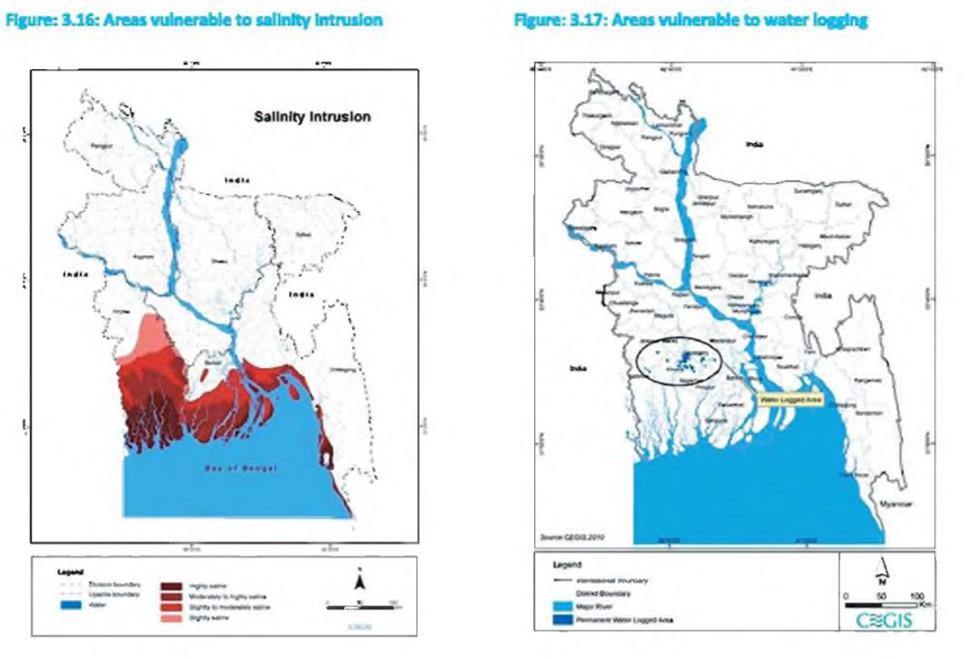 Ευάλωτες περιοχές του Μπαγκλαντές στην άνοδο της στάθμης της θάλασσας και στoν κορεσμό του εδάφους με νερό (Center for Environmental and Geographic Information Services, 2014)