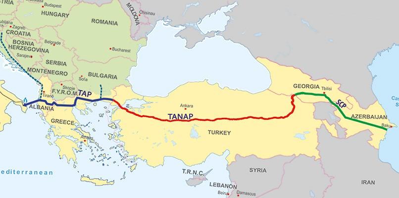 Οι Αγωγοί TANAP-TAP-BTE (Πηγή: : www.turksam.org/a-glimpse-of-azerbaijan-s-energy-investments-in-its-neighborhood)