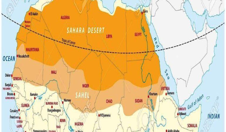 Η περιοχή Σαχέλ της Αφρικής: μια ζώνη πλάτους 1.000 χλμ. (620 μίλια) που εκτείνεται σε 5.400 χλμ. (3.360 μίλια) από τον Ατλαντικό Ωκεανό μέχρι την Ερυθρά Θάλασσα (Sahel, https://en.wikipedia.org/wiki/Sahel)