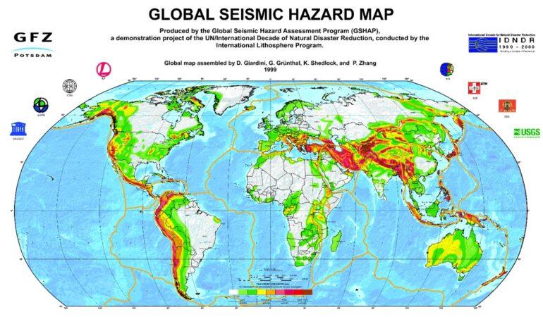 Παγκόσμιος χάρτης σεισμικών κινδύνων.  Πηγή: Global Seismic Hazard Map Online Service https://www.gfz-potsdam.de/en/GSHAP/
