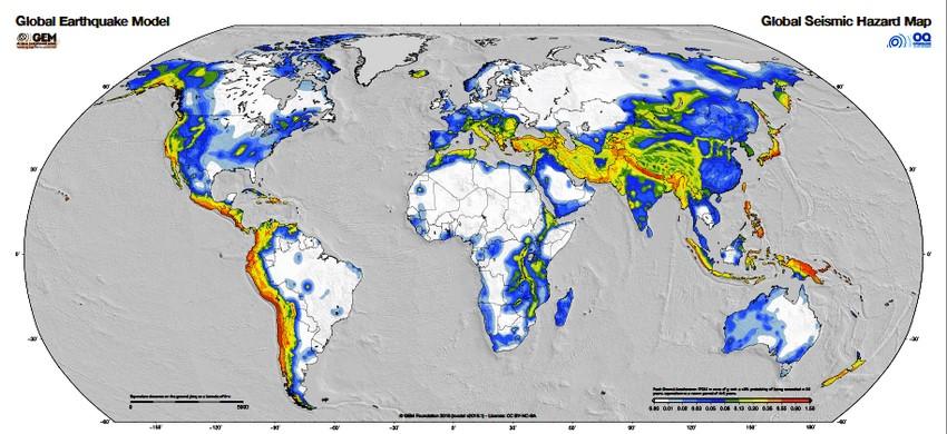 Παγκόσμιος χάρτης σεισμικών κινδύνων. Πηγή: Global Earthquake Model (GEM) project https://www.globalquakemodel.org