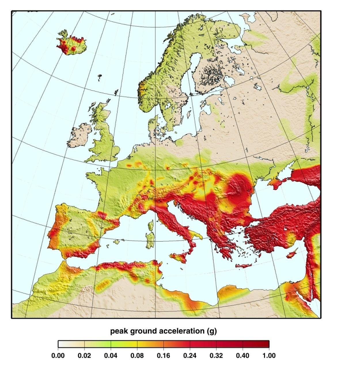 Ευρωπαϊκός-μεσογειακός χάρτης σεισμικών κινδύνων. Πηγή: Global Seismic Hazard Map Online Service https://www.gfz-potsdam.de/en/GSHAP/