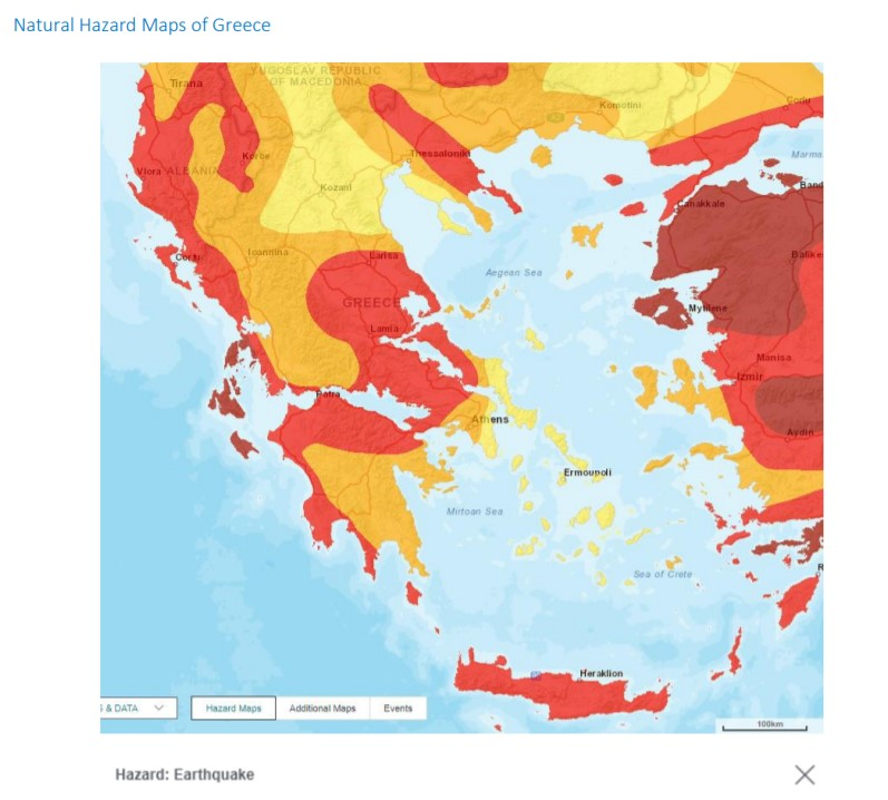 Xάρτης σεισμικών κινδύνων στον Ελληνικό χώρο. Πηγή: Νatural Hazard Maps of Greece http://www.eaee.gr/cms/sites/default/files/cat-hazard_maps.pdf