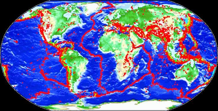 Παγκόσμιος χάρτης σεισμικών φαινομένων – Xαρακτηριστικό πως η δυτική ακτή των ΗΠΑ έχει δώσει μερικούς από τους πιο μεγάλους σεισμούς. Πηγή: Global Seismic Hazard Map Online Service https://www.gfz-potsdam.de/en/GSHAP/